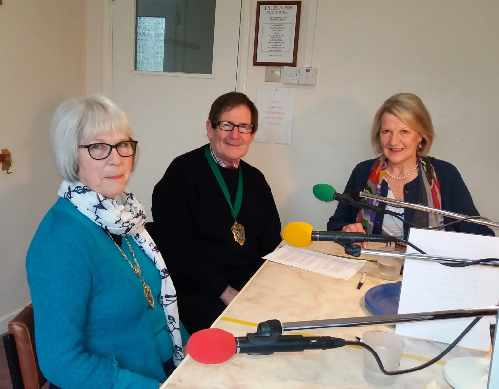 Photograph of the Mayor and Mayoress of Epsom and Ewell in the Studio with Jan Collier