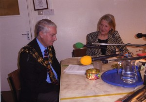 Photograph of Jan interviewing the Mayor in the studio