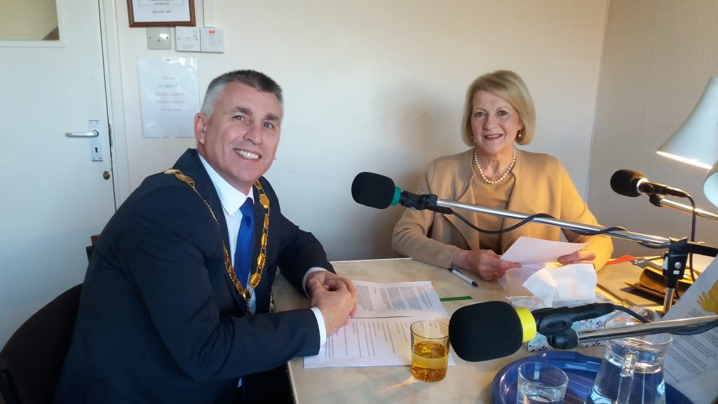 Picture of the mayor being interviewed by Jan Collier