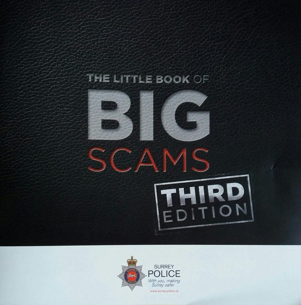 """Picture of thecover of a police leaflet on avaiding scams"""