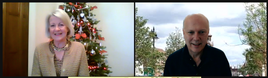 Photograph of Jan Collier at home next to a photograph of Chris Grayling at home in an online Zoom interview